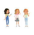 three beautiful girls dressed in trendy clothes vector image vector image