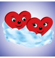 Two hearts on a cloud vector image vector image