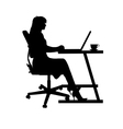 woman on laptop vector image vector image