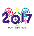 2017 Happy New Year greeting card with fireworks vector image vector image