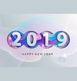 2019 creative happy new year card in paper style vector image vector image