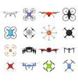air drone color quadrocopter set vector image vector image