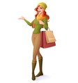 beautiful redhead woman standing with vector image vector image