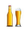 beer mock up high glass goblet and bottle vector image vector image