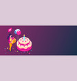 big birthday cake isometric concept happy girl vector image vector image