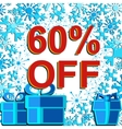 Big winter sale poster with 60 PERCENT OFF text vector image vector image