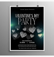 black valentines day flyer template with hearts vector image vector image