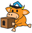 Bull and box vector image vector image