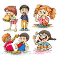 Children eating different kind of food vector image vector image