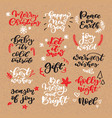 christmas chalk lettering set on craft vector image