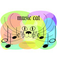 color classic music logo cat with notes on a vector image vector image