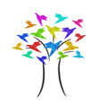 colorful origami birds crane on tree business vector image vector image