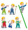construction worker people cartoon character vector image