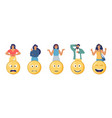 customers choosing angry happy sad emoji to vector image