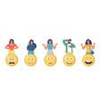 customers choosing angry happy sad emoji vector image