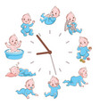 daily kids routine clocks newborn children vector image vector image