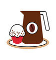 delicious coffee with cupcake vector image vector image