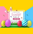 easter sale with color painted egg and typography vector image