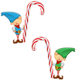 Elf Mascot Holding Candy Cane vector image vector image