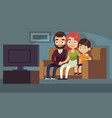family watching tv happy family watch tv home vector image vector image