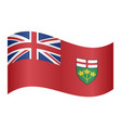 flag of ontario waving on white background vector image vector image