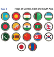 Flags of Central East and South Asia vector image vector image