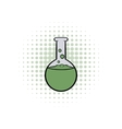 Flask with liquid comics icon vector image vector image