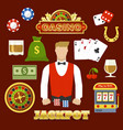 flat casino elements set vector image vector image