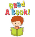 font design for read a book with kid reading book vector image vector image