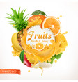 fruits 3d label vector image vector image