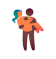 groom carries her beloved bride in her arms vector image