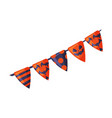 happy halloween triangle party flags garland vector image
