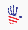 imprint a human hand in colors usa flag vector image vector image