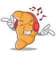 listening music croissant character cartoon style vector image