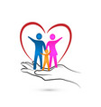 loving heart family and caring hand vector image vector image