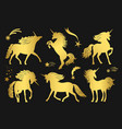 magic golden unicorns and falling stars set vector image vector image