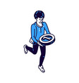man carries medal number one victory icon vector image
