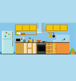 modern kitchen set with refrigerator dishwasher vector image