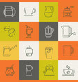multicolor coffee thin line icons set vector image vector image