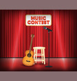 music contest stage with guitar and microphone vector image