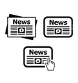 Newpaper news on tablet icons set vector image vector image