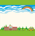 paper template with school at daytime vector image vector image