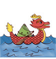 red dragon rice dumpling paddling sea festival vector image vector image