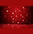 red glittering hearts background vector image vector image