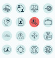 set of 16 business management icons includes open vector image vector image