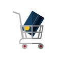 shopping cart online credit card bank color shadow vector image vector image