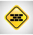 sign bricks construction yellow icon vector image vector image