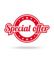 special offer label red color isolated on white vector image vector image