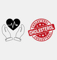 stroke heart surgery care hands icon and vector image vector image