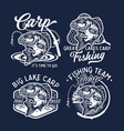 vintage largemouth bass fish fishing logos vector image vector image